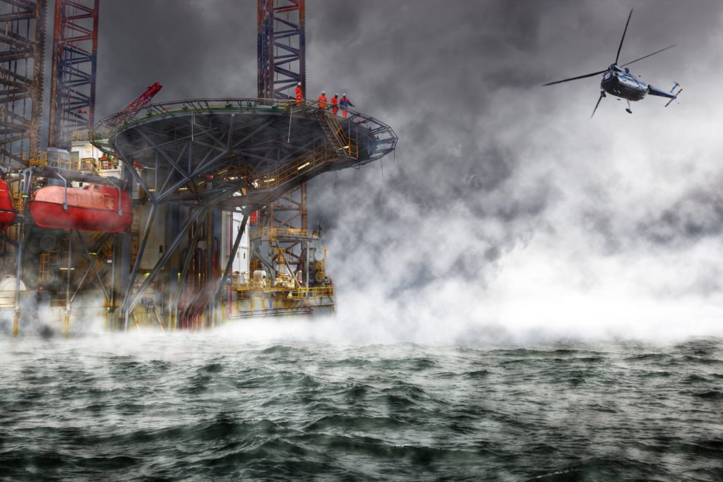 A,Helicopter,Rescue,Mission,Landing,On,Oil,Rig.
